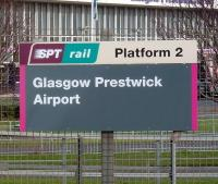 Opened in September 1994 as <I>Prestwick International Airport</I> the station nameboards nowadays show <I>Glasgow Prestwick Airport</I>, although no reference to an official change of name can be traced (so far) through the usual sources. This is coincidentally the only Scottish station operated by a local authority (South Ayrshire). Photographed on 12 November 2008. [Editors note: According to AA Route Planner, the distance between the Airport and Glasgow City Centre is 32 miles] <br><br>[David Panton&nbsp;12/11/2008]