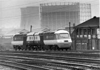 Brand new HST power cars 43143 and 43144 at Saltley in January 1981. They were taken into service the following month and so are either on test here or being delivered from BREL Crewe where they were built.<br><br>[Mark Bartlett&nbsp;21/01/1981]