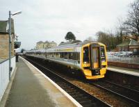 A ScotRail 4-car 158 formation calls at Linlithgow in April 1995 on its journey from Edinburgh Waverley to Glasgow Queen Street.  <br><br>[David Panton&nbsp;/04/1995]