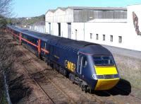 HST power-car 43114 <I>East Riding of Yorkshire</I> heads a GNER Aberdeen - Kings Cross service passing through Arbroath on 5 May 2006. <br><br>[Sandy Steele&nbsp;05/05/2006]