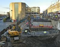 View west along Haymarket Terrace on 28 November with Haymarket station and car park on the left. The excavation work in preparation for the tramway system is being carried out on the site of the recently demolished <i>Caledonian Ale House</i>. [See image 23206]<br><br>[Bill Roberton&nbsp;28/11/2008]