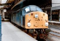 A class 40 stands with a train at Newcastle Central platform 9 in 1983.<br><br>[Colin Alexander&nbsp;//1983]