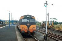 CIE 047 with a train at Claremorris in 1988.<br><br>[Bill Roberton&nbsp;//1988]