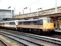 86207 <I>City of Lichfield</I> backs onto DVT 82138 at the head of a southbound <I>InterCity</I> WCML service at Carlisle platform 4 in the spring of 1996.<br><br>[John Furnevel&nbsp;//1996]