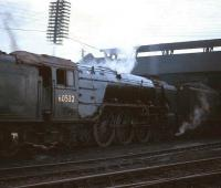Peppercorn A2 no 60532 <I>Blue Peter</I> stands outside Tay Bridge shed, Dundee, c 1965.<br><br>[Robin Barbour Collection (Courtesy Bruce McCartney)&nbsp;//1965]