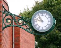 Close-up of the former works clock now attached to the wall of Morrisons superstore in North Road, Darlington, where the great locomotive works founded by the Stockton and Darlington Railway in 1863 once stood. Darlington works was closed by BR in 1966.<br> <br><br>[John Furnevel&nbsp;/10/2008]