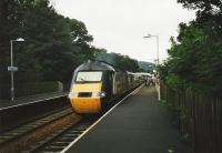 The up <I>Highland Chieftain</I> leaves Pitlochry in July 1999.<br><br>[David Panton&nbsp;/07/1999]