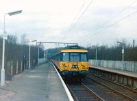 A 303 unit showing <I>High Street</I> on the destination blind stands at Balloch Central in 1984. <br><br>[Colin Miller&nbsp;//1984]