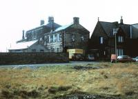 The former hotel alongside Tynemouth's 1847 Newcastle & North Shields Railway terminus, photographed in 1982, the station building stands on the right. [See image 30659]<br><br>[Colin Alexander&nbsp;//1982]