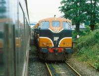 Trains crossing at Edgeworthstown, Co Longford on the Dublin Connolly - Sligo line in 1993.<br><br>[Bill Roberton&nbsp;//1993]