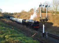 BR 9F 92203 <I>Black Prince</I> running into Winchcombe from Cheltenham on 7 December with Greet tunnel in the background.<br> <br><br>[Peter Todd&nbsp;07/12/2008]
