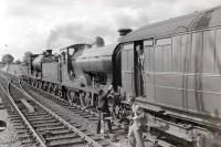 The RCTS <I>Borders Railtour</I> of 9 July 1961 from Leeds City, photographed near Roxburgh between visits to Jedburgh and Kelso. Locomotives used on this section of the tour were preserved ex-NBR no 256 <i>Glen Douglas</i>, together with J37 no 64624.<br><br>[Robin Barbour Collection (Courtesy Bruce McCartney)&nbsp;09/07/1961]