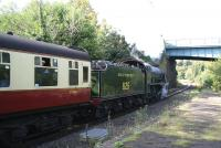 A through NYMR service between Whitby and Pickering runs through Sleights station on 2 October 2008 behind ex-SR class S15 4-6-0 no 825. The train is about to pass below the A169 road bridge.   <br><br>[John Furnevel&nbsp;02/10/2008]