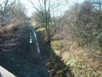 View of the Longridge branch trackbed, in a shallow cutting south of Grimsargh, taken from the B6243 road overbridge. A new footpath and cycleway from the village will use this cutting and should connect into an existing cycleway that runs along the trackbed out of Preston as far as Ribbleton. View towards Ribbleton at Map Ref SD583399<br><br>[Mark Bartlett&nbsp;10/12/2008]