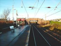 Looking towards Holm Junction from Ardrossan South Beach on 10 December. On the right is the freight only line used primarily by the Hunterston coal trains.<br><br>[David Panton&nbsp;10/12/2008]