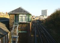 Looking east past Margate signal box towards the station on 10 December 2008.<br><br>[John McIntyre&nbsp;10/12/2008]