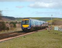 170 417 slows for the Stonehaven stop on 2 April 2008 with an Aberdeen - Glasgow Queen Street service.<br><br>[David Panton&nbsp;02/04/2008]