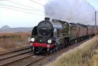 Railway Touring Company charter from Huddersfield to Edinburgh, hauled by Maunsell <I>King Arthur</I> class locomotive 30777, <I>Sir Lamiel</I>, with 47760 coupled behind.� The train is pictured west of Drem on 20 December.<br><br>[Bill Roberton&nbsp;20/12/2008]