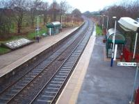 View from the station footbridge at Rishton towards Blackburn. Colne to Blackpool South trains provide a basic hourly service in each direction.<br><br>[Mark Bartlett&nbsp;13/12/2008]