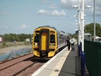 158 708 pulls into Uphall with a Waverley - Bathgate service on 20 June 2008 with the new up line in place and construction work in progress.<br><br>[David Panton&nbsp;20/06/2008]