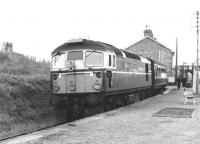 Single coach branch train for Thurso at Georgemas Junction in 1963.<br><br>[Colin Miller&nbsp;//1963]