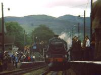 SRPS excursion at Blair Atholl in June 1982 on its way to Aviemore behind Stanier Black 5 no 5025.<br><br>[Gus Carnegie&nbsp;/06/1982]