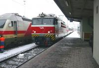 A VR class Sr1 locomotive stands with a train in the snow at Tampere, Finland, in February 2008.<br><br>[Colin Miller&nbsp;28/02/2008]