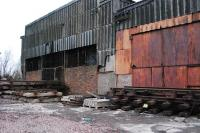 Redundant track panels stored outside the redundant Bathgate MPD shed.<br><br>[Ewan Crawford&nbsp;26/12/2008]