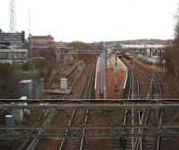 View east from Craig Street bridge, Airdrie on Boxing Day 2008, looking along the line towards Drumgelloch (and eventually to Bathgate and Edinburgh) with the bay platform and stabling siding to the right both occupied. Airdrie will become a three platform station once again when the old eastbound platform, on which the former signal box still stands, is eventually rebuilt. New lifts, stairs and a footbridge will also be installed. Further increases in car parking at Airdrie are currently under discussion between Transport Scotland and First ScotRail. [See image 27740]<br> <br><br>[John Furnevel&nbsp;26/12/2008]