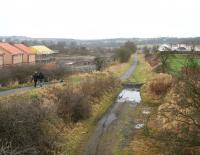 View from the western edge of the village of Caldercruix on 26 December looking towards the original proposed site of the new station with housing developments currently underway on both sides of the trackbed. These plans have now been changed and the new station will now be located on the site of the original, near the centre of the village. Construction work is scheduled to commence in the summer of 2009. [See image 21918] <br><br>[John Furnevel&nbsp;26/12/2008]
