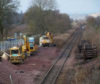 Scene at Bridge of Earn on 29 December 2008. The line has been closed since before Christmas due to engineering work and will reopen after the New Year holiday. <br> <br><br>[Brian Forbes&nbsp;29/12/2008]