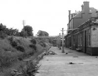 View south from the former Peebles NB station in August 1967, some 5 years after closure. Much of the area once occupied by the railway in this part of the town subsequently became part of a new road system.<br><br>[Colin Miller&nbsp;/08/1967]