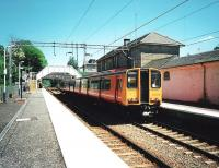 The first day of Sunday services on the Milngavie branch on 1 June 1997. 314 205 calls at Bearsden with a service to Motherwell via Bellshill.<br><br>[David Panton&nbsp;01/06/1997]