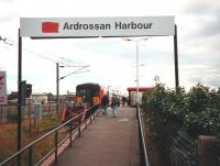 Approach to the platform at Ardrossan Harbour in July 1997. Note the BR double arrow symbol has been crudely painted out pending replacement with the SPT logo.<br><br>[David Panton&nbsp;/07/1997]