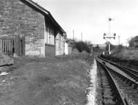 View along the platform at Drongan in 1969, looking north towards Annbank.<br><br>[Colin Miller&nbsp;//1969]