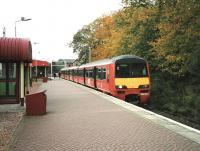 A Drumgelloch service stands at Balloch station on 30 September 1998 formed by unit 320 305.<br><br>[David Panton&nbsp;30/09/1998]