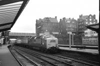 The unusual sight of an Edinburgh to London Kings Cross service, hauled by Deltic no 9001 <I>St Paddy</I>, arriving at Carlisle on 30 May 1972 having been diverted from the ECML. The train turned east onto the Newcastle line after passing through the station.<br><br>[John McIntyre&nbsp;30/05/1972]