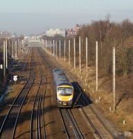 Looking north towards Preston on 6 January at the point where the 4 tracks widen to 6 as a TransPennine 185 heads towards Preston station in the distance.<br><br>[John McIntyre&nbsp;06/01/2009]
