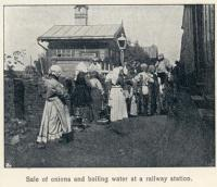 Great Siberian Railway runs between Vladivostock and St Petersburg and eventually Murmansk. Here onions and boiling water are on sale to travellers. Yum, yum. [Extract from GSR Guide of 1900]<br><br>[Alistair MacKenzie&nbsp;//2009]