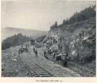Great Siberian Railway runs between Vladivostock and St Petersburg and eventually Murmansk. Work being undertaken on the Shiska cliff. [Extract from GSR Guide of 1900]<br><br>[Alistair MacKenzie&nbsp;//2009]