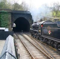 Thompson B1 4-6-0 no 61264 about to enter the north portal of Grosmont tunnel on 3 April 2008 with a train for Pickering.<br><br>[John Furnevel&nbsp;03/04/2008]