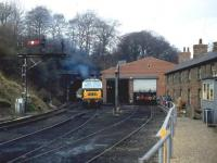 A preserved class 35 <I>Hymek</I> at the south end of Grosmont tunnel alongside one of the shed buildings in February 1982. The old railway cottages have since been demolished.<br><br>[John McIntyre&nbsp;/02/1982]