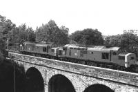 A pair of class 37s crossing Slateford Viaduct in 1981.<br><br>[Peter Todd&nbsp;//1981]