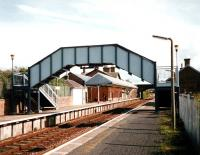 View towards Carlisle from Annan station in October 1997, before demolition of the platform buildings on the right.<br><br>[David Panton&nbsp;/10/1997]