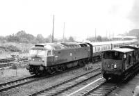 47546 takes an Inverness train north out of Aviemore on 1 August 1980.<br><br>[Peter Todd&nbsp;01/08/1980]
