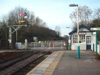 On the York-Harrogate line Cattal is the start of the single line section to Knaresborough, controlled by the small signal box on the station platform. View west towards Knaresborough and Harrogate.<br><br>[Mark Bartlett&nbsp;15/12/2008]