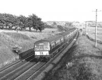 The 1850 Lanark - Glasgow Metro-Cammell DMU approaching Carluke in June 1967.<br><br>[Colin Miller&nbsp;/06/1967]