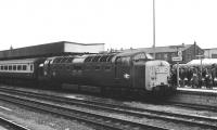 Deltic 55011 <I>The Royal Northumberland Fusiliers</I> brings an ECML train into Doncaster station on 7 February 1981.<br> <br><br>[Peter Todd&nbsp;07/02/1981]
