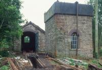 The Cavan and Leitrim Railway's shed at Dromod, photographed in 1993 during restoration work. <br><br>[Bill Roberton&nbsp;//1993]