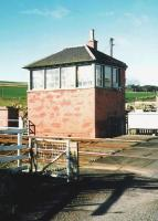 The level crossing at Carmont, south of Aberdeen, in October 1998. The gates are set against the (quiet) road but opened to allow me to cross.<br><br>[David Panton&nbsp;/10/1998]
